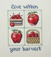 """""""Live Within Your Harvest"""" Basket of Apples Cross Stitch Completed Finished"""