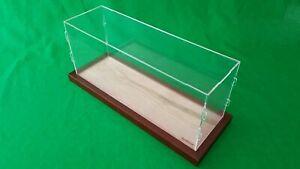 """19""""L x 6""""W x 8""""H Clear Acrylic Display Case Box Table Top Showcase Walnut frame"""