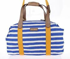NEW $1300 DOLCE & GABBANA Blue White Linen Leather Travel Gym Hand Shoulder Bag