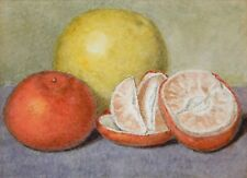 Antique Watercolor Painting Fruit Still Life ORANGE GRAPEFRUIT Unsigned Small