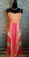 NWT Anthropologie Champagne & Strawberry Long Prom Dress Linen Lace Maxi Sz L