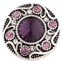 Purple Scroll Rhinestone 20mm Snap Charm Interchangeable For Ginger Snaps