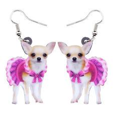 Acrylic Pink Dress ChiHuaHua Dog Earrings Drop Dangle Pet Jewelry For Women Gift