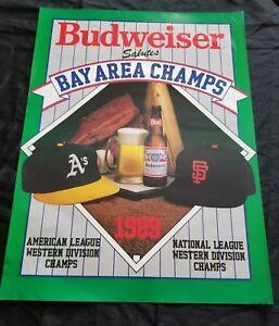 VTG 1989 Bay Area Champs Budweiser Poster Oakland A's & San Francisco Giants