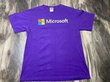 MICROSOFT LOGO Graphic Purple Short Sleeve Crew Neck T-Shirt MEDIUM Top