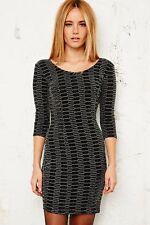 NEW Sparkle & Fade Lurex Bodycon Dress in Silver Small Box1149 n