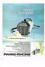 PUBLICITE  1971   PARIS-RHONE  aspirateur
