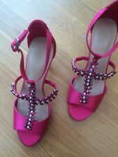 M & S Collection Womens Pink Satin T Bar Ankle Strap Stilleto Sandals Size 3 New