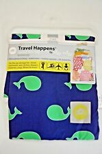 "Itzy Ritzy Travel Happens Sealed Wet Bag 11"" x 14"" Blue with Green Whales Unused"