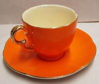 Vintage Crown Devon Orange Lustre and Gilt Demitasse Cup & Saucer c1930s