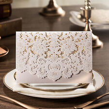 **Special Offer**50 X Ivory Laser Cut Wedding Invitation Cards* Best Price!