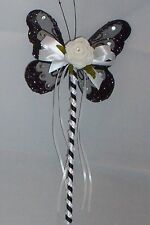 FLOWER GIRL OR BRIDESMAID BLACK AND WHITE BUTTERFLY WAND WITH CRYSTALS