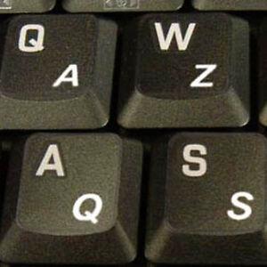 HQRP US UK English Laminated Keyboard Stickers White Lettering Black Background