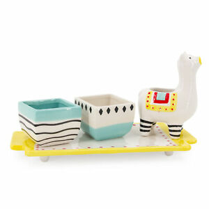 4pc Plant Keeper Set Cute Ceramic Planters & Animal Watering Pitcher On Tray