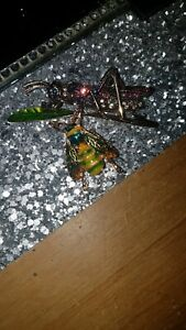Vintage Style Brooches Grasshopper & Bee
