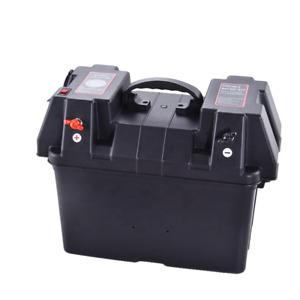Battery Box, Voltmeter, Dual USB and 2 Power Sockets, Fishing, Camping, Trolling