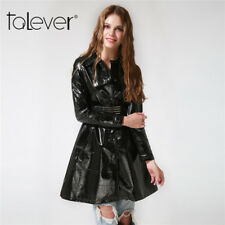 Fashion Womens Long Trench Coats Windbreaker Parka Leather Jackets Outerwear 4XL