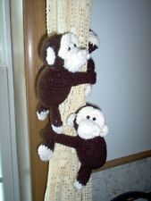 Crochet Chimpanzee tie backs, pr, brown and cream