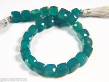"""Emerald Green Onyx Gemstones Faceted Plump 3D Cube 7.5-8.5mm Dice Box Beads 8"""""""
