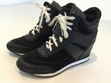 Womens Black Wedge Heel Trainers Shoes Boots Smart Casual Uk6 Strap/lace Up