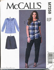 MCCALL'S SEWING PATTERN 7258 WOMENS SZ 26W-32W TOPS, SKIRT & PANTS IN PLUS SIZES