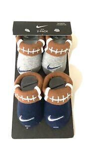 Nike Crib Shoes Booties Socks Newborn Baby 0-6 Months Gray Blue Football
