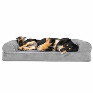 Furhaven Pet Dog Bed - Orthopedic Faux Fur and Velvet Traditional Sofa-Style ...