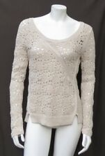KNITTED & KNOTTED Anthropologie Ecru Cotton Collected Stitches Sweater Top S M