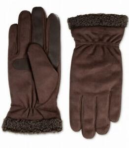 Isotoner Men's Winter Gloves Brown Size XL Faux Suede Cuff $56 #359