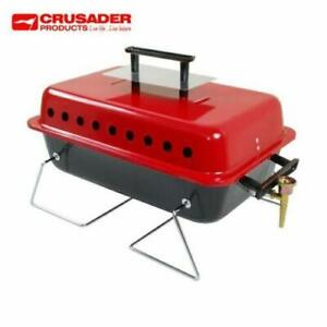 Crusader Portable Table Top Gas Barbeque BBQ With Lava Rocks Caravan Camping