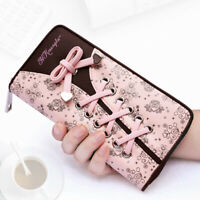 Faux Leather Women's Clutch Cute Bow Long Zipper Wallet Business Card Holder