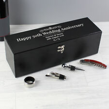 New Personalised Wine Bottle Accessories Gift Box Set Christmas Anniversary