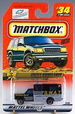 Matchbox MB 34 Chevy Ambulance Sheriff SWAT Black Mint On Card 1999