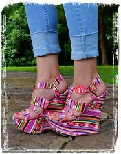 Women's Multi-Color Aztec Open Toe Wedges Fits Size 7-9