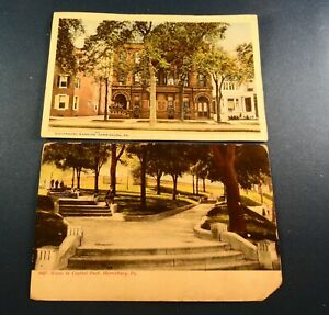 2 Old Post Cards - PA: Harrisburg; Governor's Mansion ETC