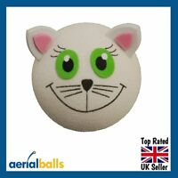 SALE...Happy White Cat Car Aerial Ball Antenna Topper or Dashboard Wobbler