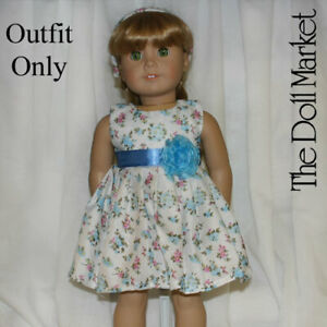 """New - Blue Floral Dress  #1406 - fits 18"""" American Girl Dolls"""