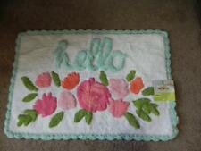 New CELEBRATE Spring Together Floral HELLO Bathmat 30x20 Vtg look Crochet Edge