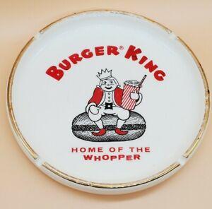 "🔥 VINTAGE RARE Burger King 1960s Ceramic Ashtray 7"" Round - Coral Gables FL 🔥"