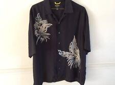 Reunion Mens Short Sleeve Button Down 100% Silk Hawaiian Print Shirt Size M