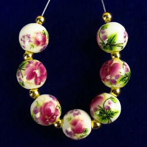 7Pcs/Set White Ceramics Purple Flower Round Ball Pendant Bead 10mm R55420
