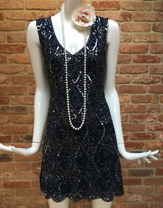TFNC Beaded Navy Sequins Flapper Gatsby 1920s Charleston Party Dress Size S BNWT