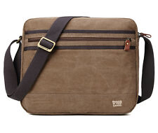 TRP0391 Troop London Classic Canvas Messenger Bag Brown - Tablet Friendly