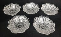 Set of 5 Vintage American Brilliant Period Cut Glass Dipping Sauce Bowls