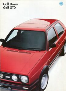 VOLKSWAGEN VW GOLF DRIVER & GTD - 1991 Mk2 UK sales brochure