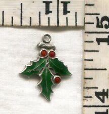 VINTAGE STERLING BRACELET CHARM~#67717~ENAMELED CHRISTMAS HOLLY~'61~$14.99!!