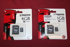 Lot of 2 Kingston's Memory Micro SD Card 4GB Class 4 with Adapter