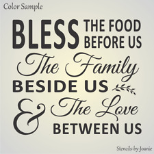 Joanie STENCIL Bless Food Family Love Between Us Wheat Vine Country Prim Home
