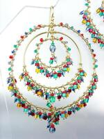 EXQUISITE Aquamarine Red Garnet Multi Crystals Gold Rings Chandelier Earrings LG