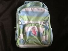 POTTERY BARN KIDS FAIRFAX STRIPE/OWL PATCH BACKPACK LARGE AQUA NO MONOGRAM  NEW